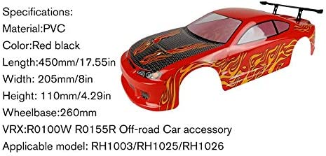 RH1003 Car Racing Rosso e Nero Silverdewi 1//10 RC Carrozzeria Coprivaso in PVC per VRX R0100W R0155R RH1025 RH1026