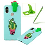 TPU Case for Xiaomi 6X,Soft Rubber Cover for Xiaomi 6X,Herzzer Ultra Slim Stylish 3D Cute Cactus Series Design Scratch Resistant Shock Absorbing Flexible Silicone Back Case