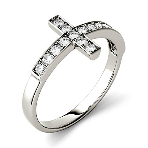 Forever Classic 1.7mm Round Cross Ring-size 5, 0.34cttw DEW By Charles & Colvard by Charles & Colvard (Image #1)