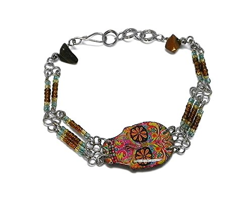 Mia Jewel Shop Day of The Dead Sugar Skull Beaded Silver Chain Bracelet (Psychedelic/Brown/Gold/L.Blue)