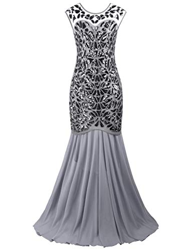 Ladies Halloween Fancy Dress Plus Sizes (PrettyGuide Women 's 1920s Art Deco Sequin Gatsby Formal Evening Prom Dress L)