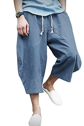 - FASKUNOIE Men's Patchwork Pants Baggy Casual Short Pants Loose Linen Shorts with Pockets Light Blue