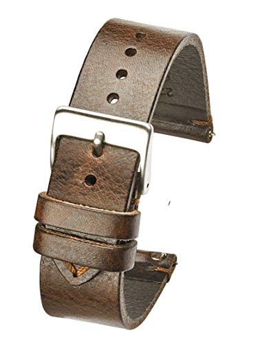 Hand Made Genuine Vintage Leather Watch Strap with Quick Release Steel Spring Bars - Brown - 18mm (fits Wrist Size 6 1/4 inch to 8 inch)
