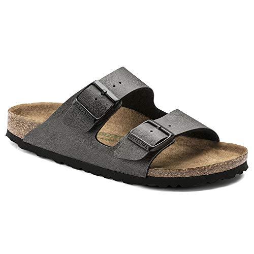 Birkenstock Women's Arizona Vegan Birko-Flor Limited Edition Narrow Fit Sandal, Pull-Up Anthracite (PLLUPANTH), 39