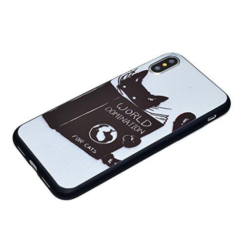 iPhone X Hülle Lesen Sie die Katze Premium Handy Tasche Schutz Schale Für Apple iPhone X / iPhone 10 (2017) 5.8 Zoll + Zwei Geschenk