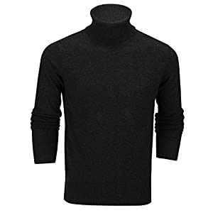 Xposed Mens Roll Neck Jumper Soft Cotton Fine Knitted High Turtle Polo Pullover Top