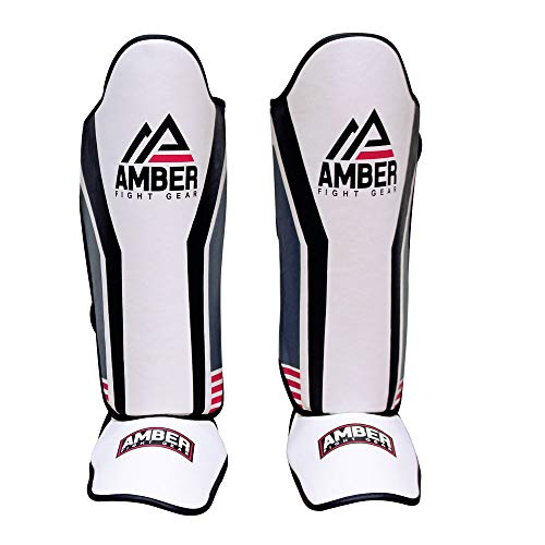 Amber Fight Gear Gladiator Muay Thai Shin-n-Step for Muay Thai Kickboxing Protective Training Sparring Shin Guards Pair XL