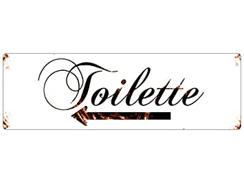 targa in metallo con shabby targa vintage toilette freccia ... - Targhe Per Toilette