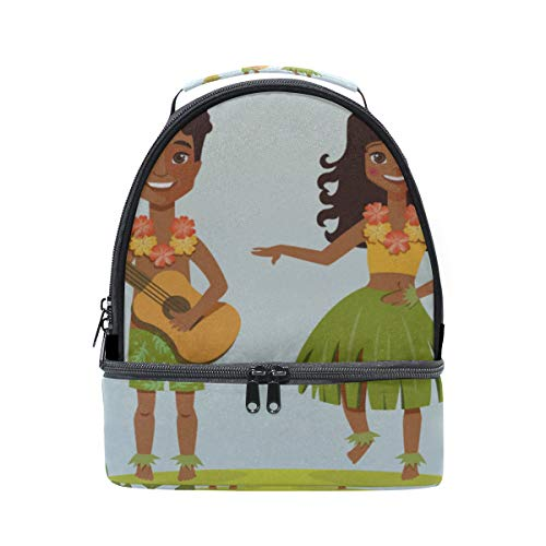 Lunch Box Large Capacity Hula Dance Optimism Positive Clear Double Layer Food Storage Teens School Sturdy Lunch Cooler Bag Dinner For Girls Container With Shoulder Strap