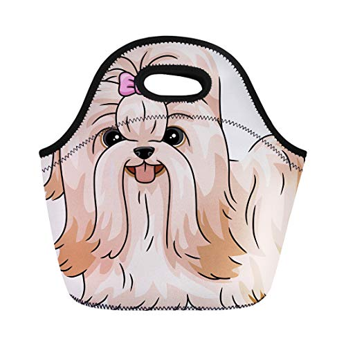 Semtomn Neoprene Lunch Tote Bag Dog Featuring Shih Tzu Shitzu Cartoon Grooming Animal Breed Reusable Cooler Bags Insulated Thermal Picnic Handbag for Travel,School,Outdoors, Work