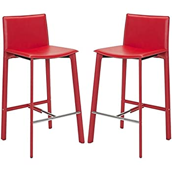 Amazon.com: Safavieh Home Collection Janet Mid-Century Red Leather ...