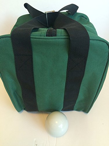 Unique Bocce Accessories Package - Extra Heavy Duty Nylon Bocce Bag (Green with Black Handles) and White pallina by BuyBocceBalls