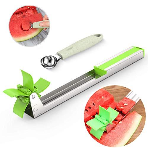 Smart Watermelon Windmill Cutter, Watermelon Cube Slicer Cutter Ruler & Stainless Steel Fruit Ice Cream Baller Spoon, Kitchen Gadget Knife Corer Fruit Tools