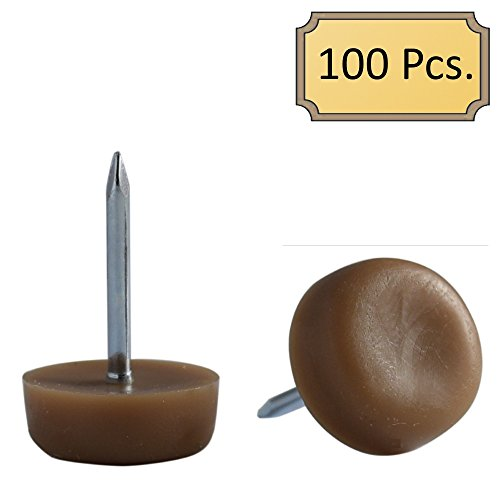 D.H.S. 3/4' Dia. Nylon Slider Glides for Chairs, Stools, & Tables - Protects Your Floors as Furniture Slides Like Magic over Tile, Carpet, & Hardwood - Brown - Box of 100
