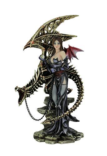 Everspring Dark Fairy Standing with Skeleton Dragon On Leash - Art Sexy Fairy