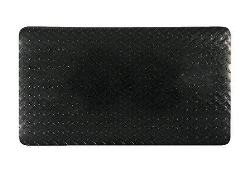 Plastic, Anti-Stain Grill and Garage Protective Mat - Decorative Embossed Diamond Plate Pattern - Black, (3 Feet x 4 Feet) Motorcycle Christmas Lights