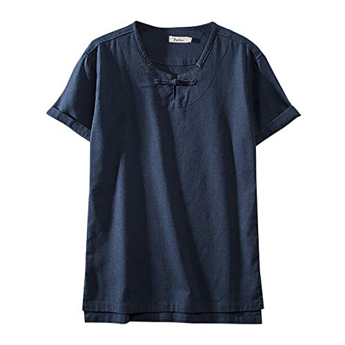 - TUSANG Men Tees Fashion Cotton Linen Solid Color Short Sleeve Retro T Shirts Tops Loose Comfy Tunic(E-Navy,US-10/CN-XL)