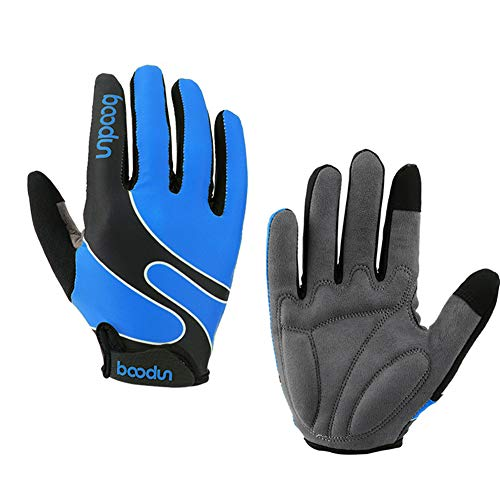 (kemimoto Cycling Dirt Bike Gloves Mountain Gloves Full Finger Thick Gel Padding Touch Screen Blue L)