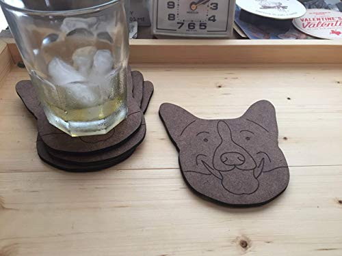 Corgi coasters, set of 4 hardboard coasters with cork backing