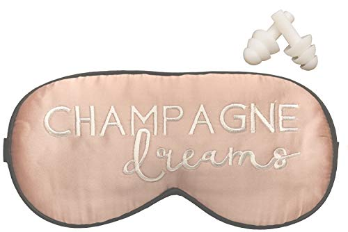 Champagne Dreams Silk Sleep Mask with White Embroidered Stitching, Adjustable Elastic Strap, Complimentary White Earplugs