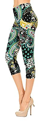 VIV Collection Print Brushed Ultra Soft Cropped Capri Leggings Regular and Plus (Sizes XS - 2XL) Listing 3