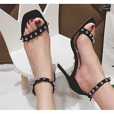 LvYuan-ggx Femme Chaussures à Talons Confort Flocage Printemps Décontracté Confort Noir Kaki Plat khaki ptfyEoN