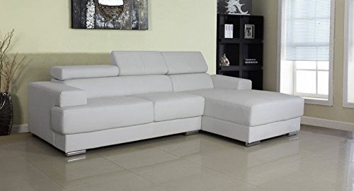 Container Direct Gabriel Collection Modern Bonded Leather Upholstered Sofa Sectional with Right-Facing Chaise Lounge, White