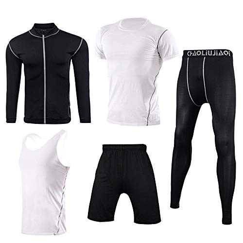 Men fitness suit Mens 5pcs Sports Gym Fitness Clothing Set Long Sleeve Shirt+short Sleeve Shirt+sleeveless Vest+pants…