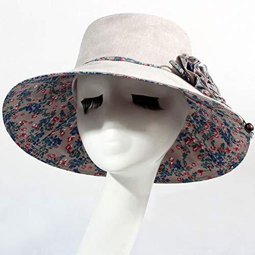 The taste of home Summer Hat, Sun Hat Women Cotton Linen Flower Design Packable Foldable, 5 Colors Optional Summer Sun hat (Color : C)