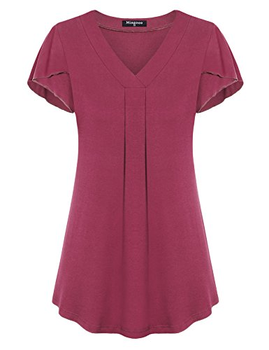 Miagooo Women's Flutter Sleeve V Neck Pleated Tops Casual Flowy Tunic Tee Shirts(Rose (Flutter Sleeve Empire Top)
