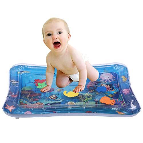 Wassermatte Baby Wasserspielmatte mit Luftumpe Baby Spielzeug ab 3 Monate 66 x 50cm aufblasbarer Kinderwasserpark