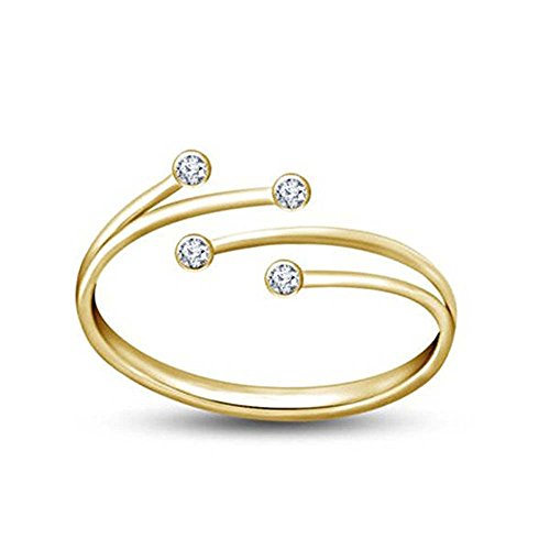 Star Retail 14K Yellow Gold Plated Silver Adjustable Bypass Toe Ring in White Cubic Zrconia For Women's Jewelry ()