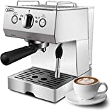 Espresso Machine, Coffee Machine with 15 bar Pump Powerful Pressure Coffee Brewer, Coffee maker with Milk Frother Wand for Latte and Mocha, Silver, Stainless Steel, 1050W