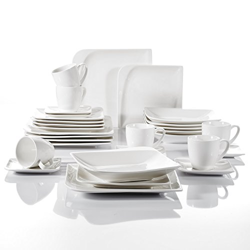 Vancasso 30 Pieces Ivory White Porcelain Dinnerware Set of Cups Saucers Dinner Plates Dessert Plates Soup Plates Service for 6 People (Fine Set Dinnerware Porcelain)