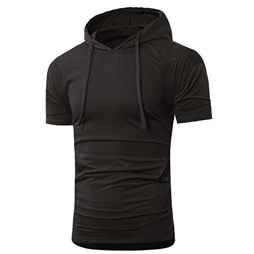(OrchidAmor 2019 T Shirt, Men's Summer Fashion Hooded Pullover Short Sleeve Blouse Camis Tanks Black)