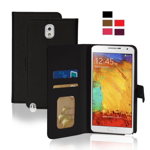 KHOMO Samsung Galaxy Note 3 Executive Leather Wallet case - Black