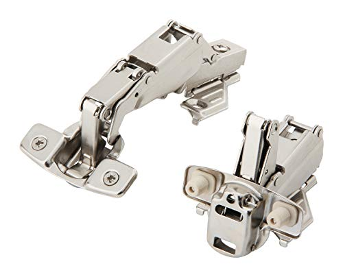 (Silverline CHC35165-WD Corner Hinge Clip On 165 Angle Cabinet Hardware with Face Frame Base Plate 1 Pair)