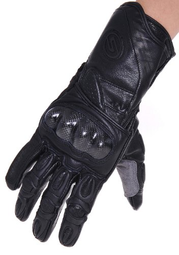 (Seibertron SP2 SP-2 ADULT On-Road Street Racing Motorcycle Gloves Genuine Leather Gloves black L Large)