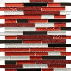 """12""""x12"""" Linear Mix Red Gloss, Glass and Steel Mosaic"""