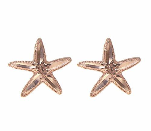 14K pink rose gold Hawaiian 12mm diamond cut starfish post stud earrings by Arthur's Jewelry