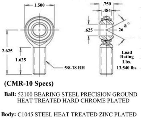Economy 5//8 x 5//8-18 Panhard Bar Kit Bung .120 Rod End Heim Joint LH RH