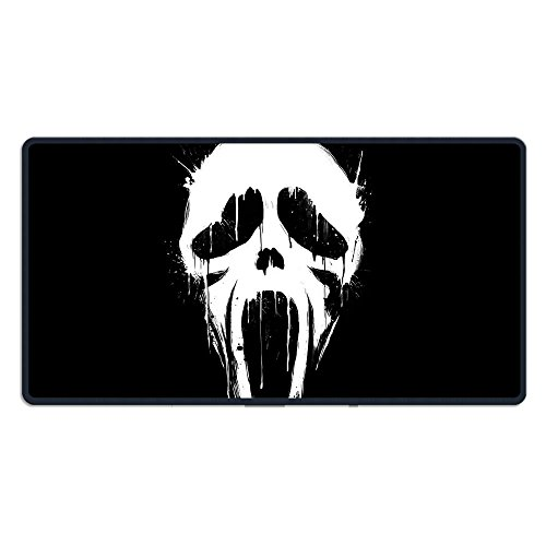 Large Gaming Mouse Pad Scream Mask Extended Mat Desk Pad 15.7 X 29.5 Inch Mousepad Long Non-Slip Rubber Mice Pads Stitched -