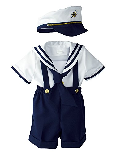Spring Notion Baby Boys Sailor Set with Hat Medium/6-12M, Navy Blue