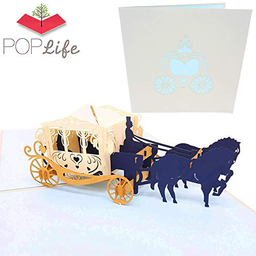 Beauty And The Beast Diy Costumes (PopLife Fairy Tale Carriage 3D Pop Up Greeting Card for All Occasions - Princess Theme, Glass Slipper, Royal Storybook - Folds Flat for Mailing - Birthday Parties, Thank You, Anniversary,)
