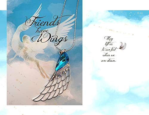 Smiling Wisdom - Friends Have Wings, They Lift Us to Our Feet When We Fall - Appreciation Thank You Friendship Greeting Card - Angel Wing Long Chain Statement Sweater Necklace -