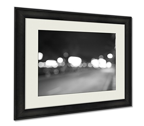 Ashley Framed Prints Defocused Shot Of Pattaya At Night Time, Wall Art Home Decoration, Black/White, 30x35 (frame size), AG5892418 by Ashley Framed Prints