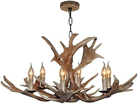 Vintage Style Resin Deer Horn Antler Chandelier,6Lights Bulbs Not Included