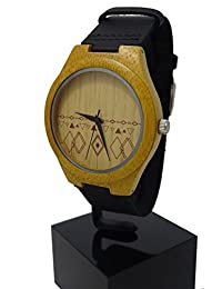 Handmade Tribal Design Wooden Watch Made with Natural Bamboo Wood in Black Leather Strap with -HGW-255