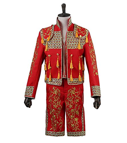 Mattheo Klug Red Men's Spanish Matador Costume with Embroidered Tassel Three-Piece Tuxedo -