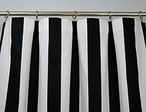 Amazon Com Black And White Vertical Stripe Drape One Rod